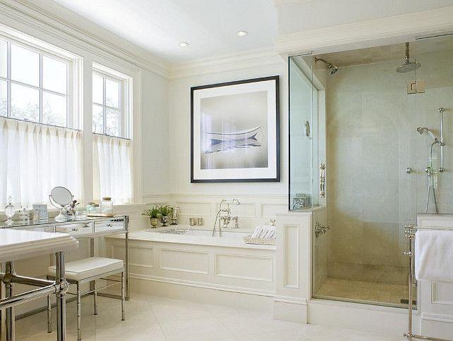 Luxurious bathroom - black & white photo - glass enclosed shower - large tub......