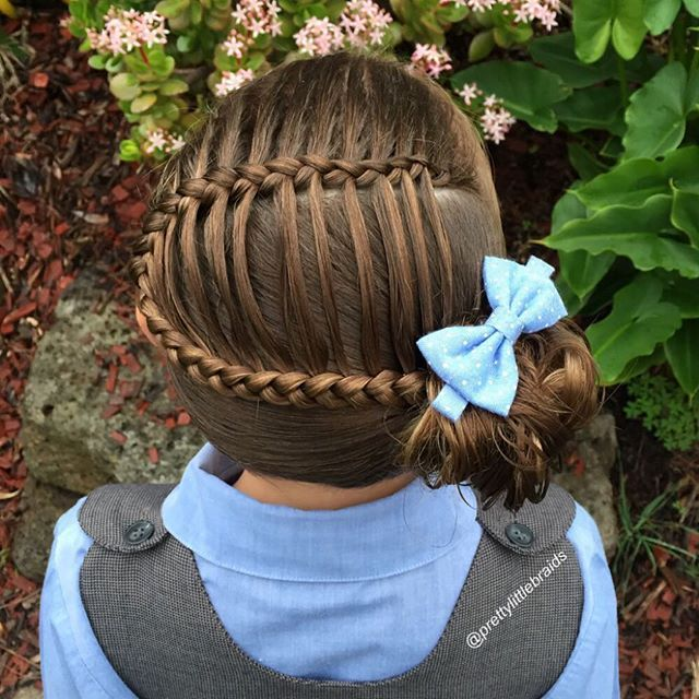 """A simple ladder braid into a messy bun today. So pretty! "" Photo taken by @prettylittlebraids on Instagram, pinned via the InstaPin iOS App! http://www.instapinapp.com (07/13/2015)"