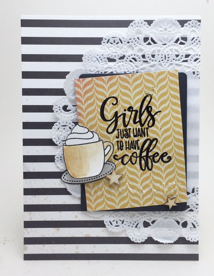 Hand stamped card by Erin using the Coffee Helps stamp set from Verve. #vervestamps
