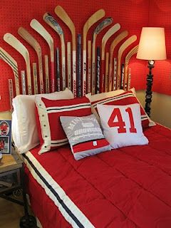 Hockey stick headboard-I know a boy who would love this, I think we have enough sticks around here!