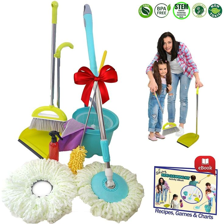 Kids Cleaning Set - Skoolzy Toddler Toys   Montessori Materials with Real Microfiber Spin Mop, Broom and Dustpan Cloth, Spray Bottle, Extendable Duster for Little Girl or Boy   Non Toxic Recipes eBook
