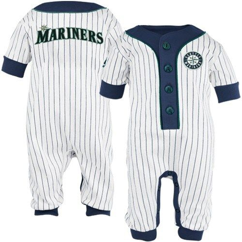 Majestic Seattle Mariners Infant White Pinstripe Coveralls