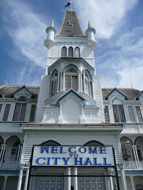Deteriorated historical New Amsterdam Town Hall tower ...  Guyana New Amsterdam City Hall
