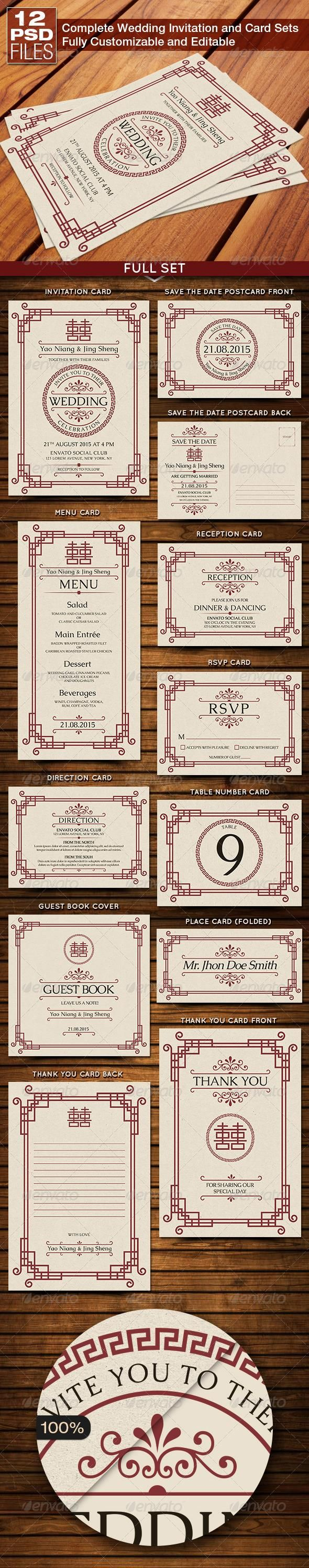 Oriental Style Wedding Invitation and Card Sets