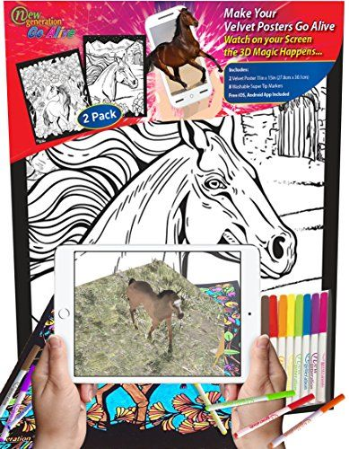 New Generation GO Alive - HORSE - 2 in 1 product Color and watch AMAZING 3D Animation on Your 2 PACK 11x15 inch Velvet Posters , A Magical Animated Show on YOUR Creativity . - AUGMENTED REALITY VELVET FUZZY POSTERS - New Generation GO Alive Fuzzy Posters Combines Classic Creative with Cutting Edge Technology that become to a magical animated show- Enjoy and have LOT'S of FUN for kids and adults with the beautiful Fuzzy Velvet magical Posters - FREE !!! iOS & Android Ap...