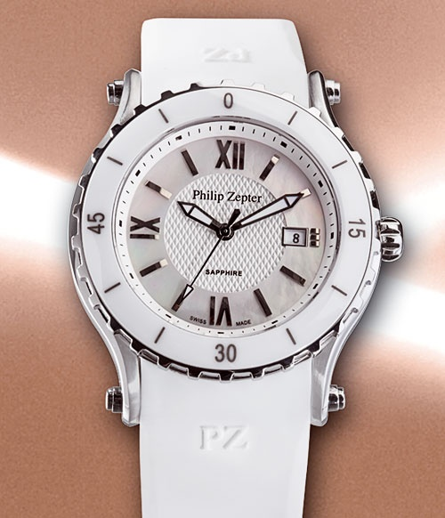 Philip Zepter Secret Desire Timepieces - Stainless Steel & White Ceramic with leather strap