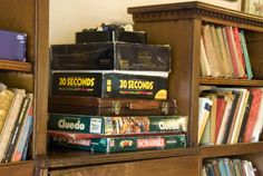 Books and games in the lounge area