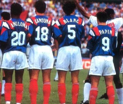 Jocelyn Anglomá, Eric Cantoná, Laurent Blanc y Jean Pierre Papín Francia-Inglaterra de la Euro´92
