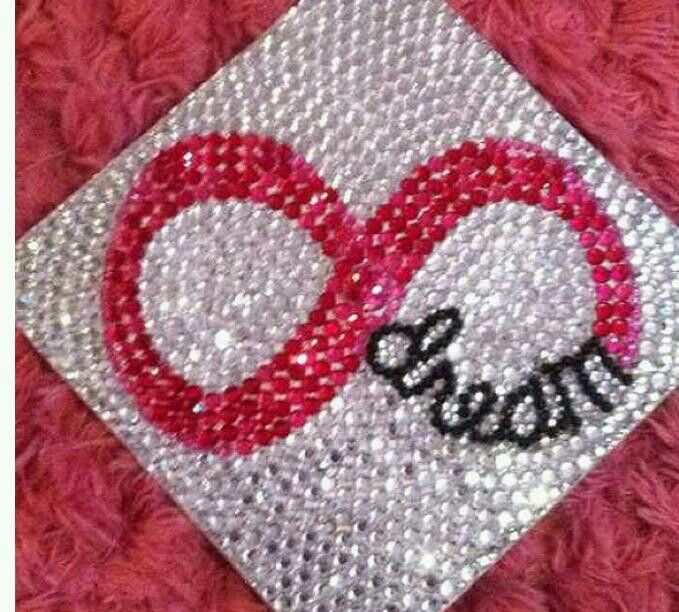Grad cap I have to do this! But on the bottom it would say 2013 and maybe Jayme instead of dream. And the infinity sign would be multicolored instead of pink! :) I can'tot decide on what do do! So many brilliant ideas.