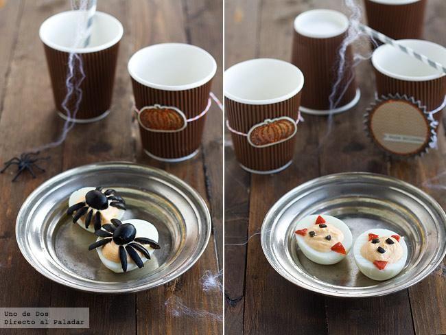 Huevos araña y demonio. Receta de Halloween  http://www.directoalpaladar.com/recetas-de-aperitivos/huevos-arana-y-demonio-receta-de-halloween