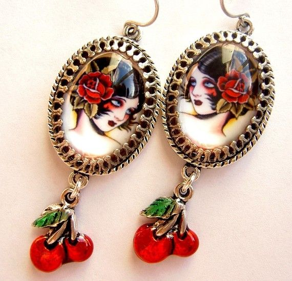 Cherry Bomb  Old School Tattoo Flash Earrings by PersephonePlus, $24.00