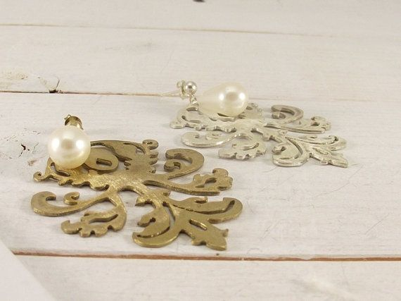 Silver and Gold Plated vintage earrings with Filigree pattern. Handmade Sterling Silver Retro Earrings with a Filigree motif. Bridal Earring