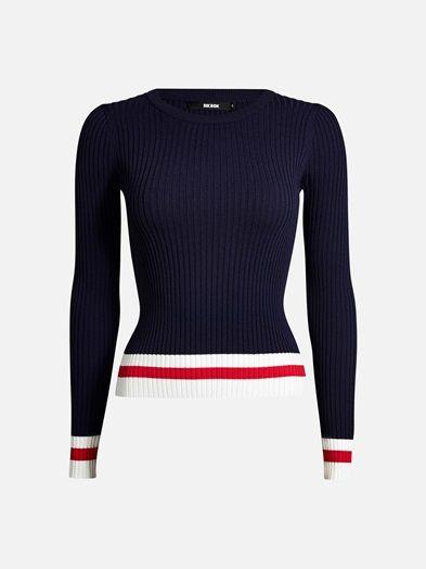 Rib knit round neck top with stripy bottom hem and cuffs.  Laivastonsininen
