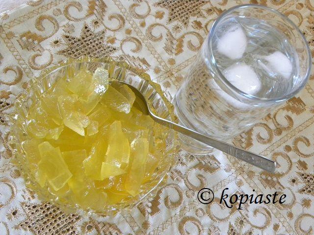 Karpouzi Glyko (Watermelon Rind Preserve) flavoured with fragrant geranium leaves and lemon peel  http://kopiaste.org/2008/07/karpouzi-glyko-water-melon-rind-spoon-sweet/  Γλυκό Καρπούζι  http://www.kopiaste.info/?p=1346