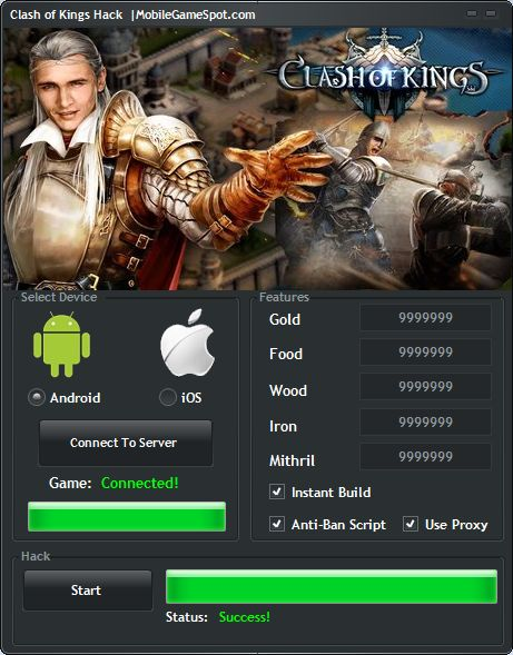Learn how to hack Clash of Kings and have unlimited gold coins and free shopping on Android, iPhone, iPad and iOS. To get free unlimited gold coins for the game, you just need to cheat it by using the trainer. The trainer will mod your game account and will allow you to generate tons of gold.