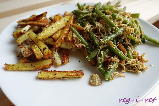 veg-i-vet: Fazolové lusky s uzeným tofu a zeleninové hranolky...