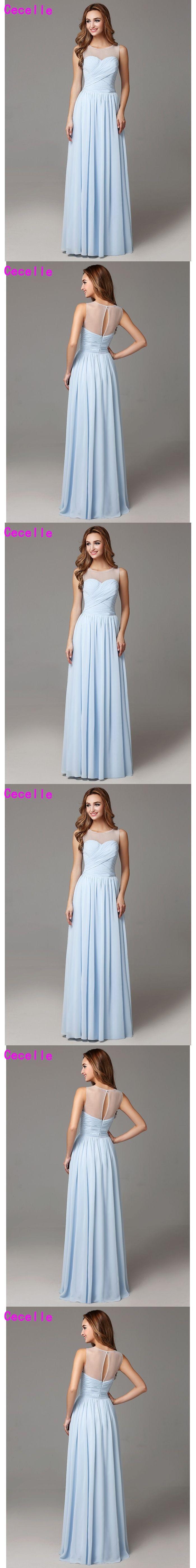 2017 Light Blue Long Bridesmaid Dresses Floor Length Sleeveless Pleats Chiffon Country Bridesmaid Gowns Wedding Party Dress