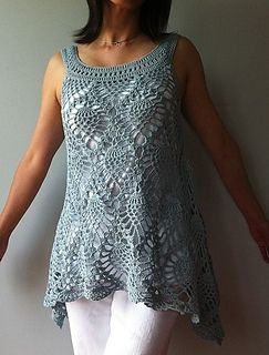 crochet sleeveless summer top with pineapples