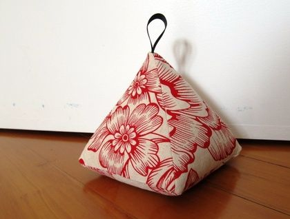 Pyramid Doorstop -  Red Floral on Linen  | Felt