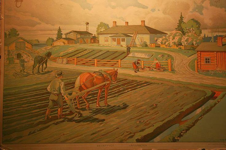 Hevoset ja ihmiset kevättöissä ja heinänteossa. Nämäkin optustaulut ovat 1930-luvulta. Kuvissa on valtavasti yksityiskohtia ja monta tarinaa.