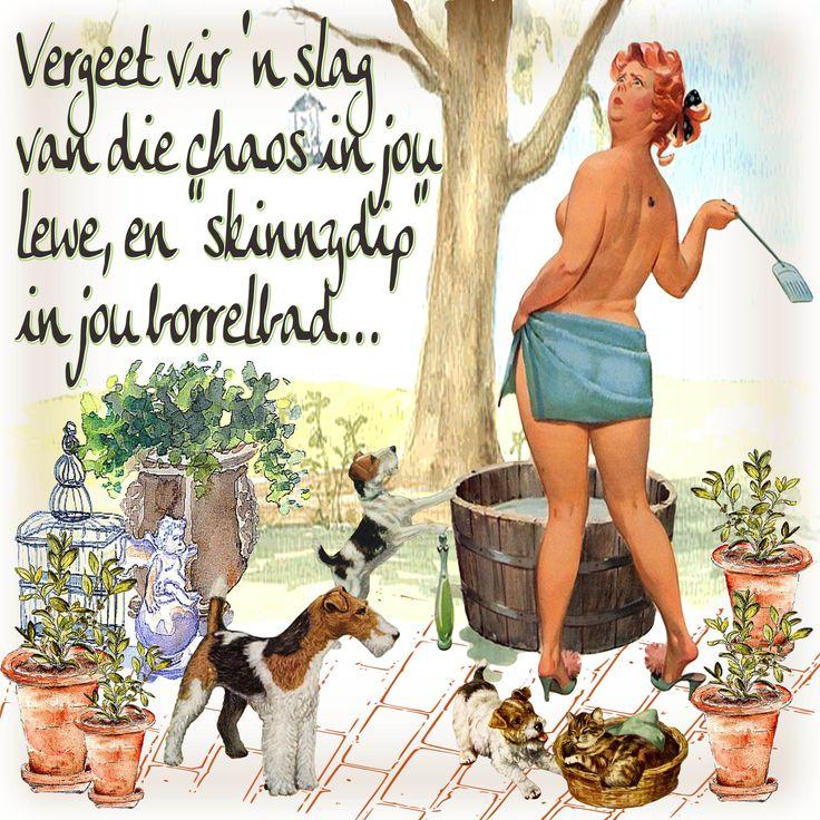 WilleMien - Borrelbad (met erkenning aan Duane Bryers se Hilda). Digitale collage kuns deur Tinka Paulsen (Afrikoekie)