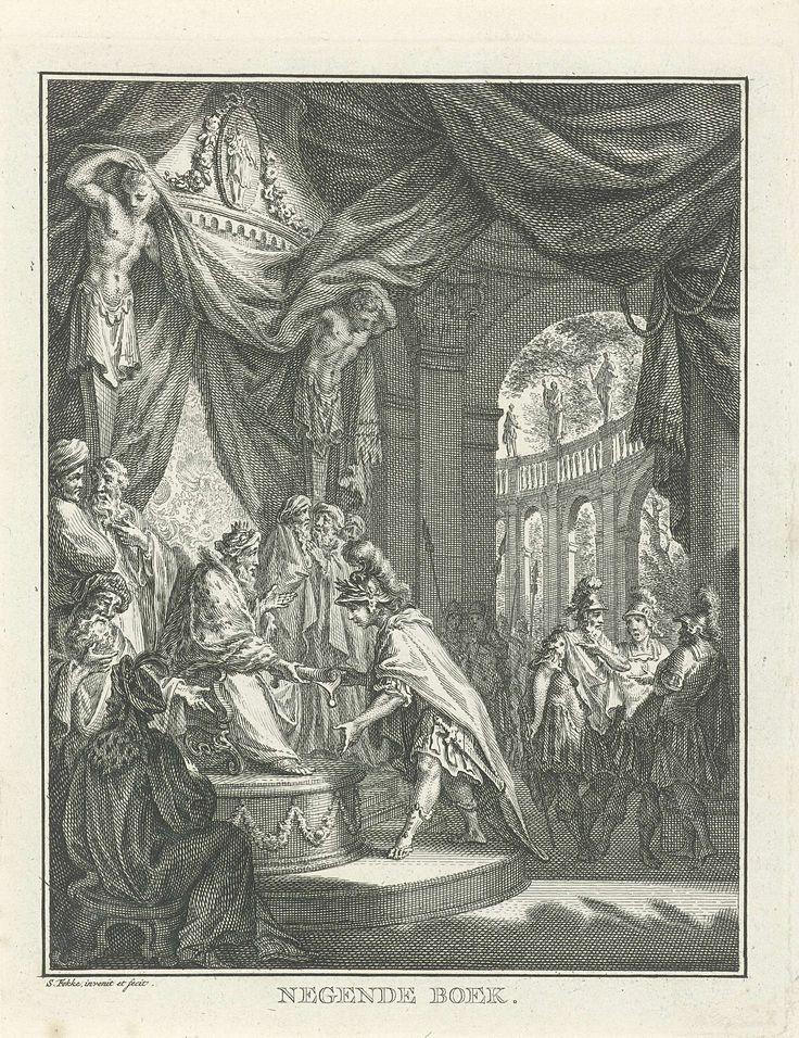 Simon Fokke | David aangesteld als lijfwacht van koning Achis, Simon Fokke, 1766 | De op een troon gezeten koning Achis overhandigt David een opgerold document waarmee David wordt aangesteld als zijn vaste lijfwacht. Rond de troon staan dienaren en soldaten van de koning met elkaar te praten en wijzen daarbij naar het tweetal. De prent maakt deel uit van een serie over het verhaal van David en Saul.