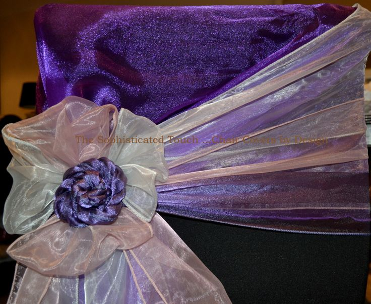 Purple Organza Chair Shawl with Platinum, Nude and Victorian Purple Organza Bows on Black Chair Covers.   The Sophisticated Touch ...Chair Covers by Design