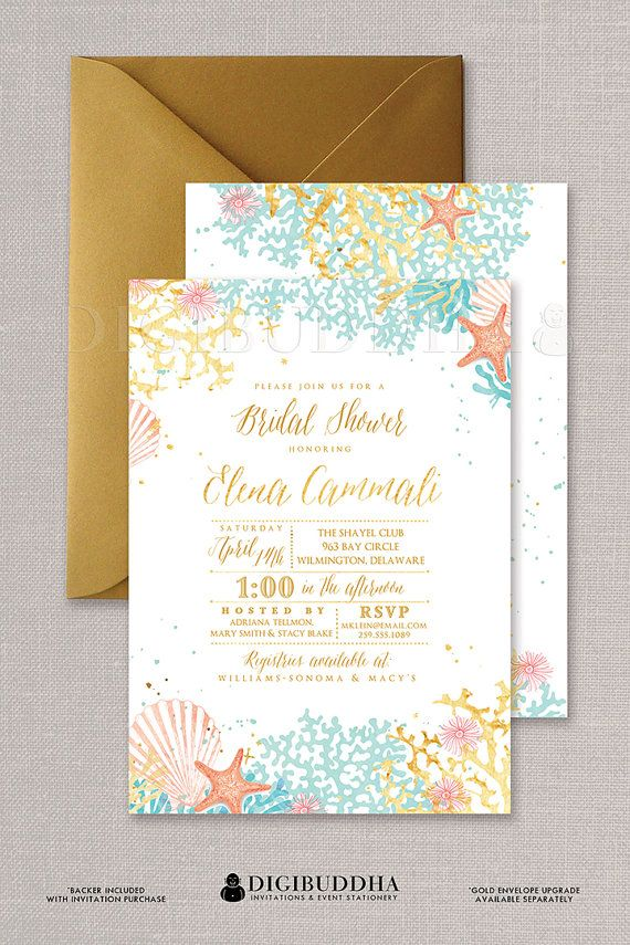 Beach Bridal Shower Invitation Watercolor Bohemian Ocean Coral and Starfish Wedding Invitations in Turquoise Peach and Gold available at digibuddha.com