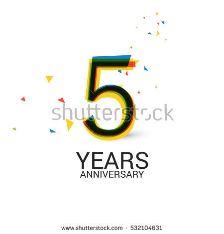 5 Years Anniversary. Layered and Colorful. Logo Celebration Isolated on White Background