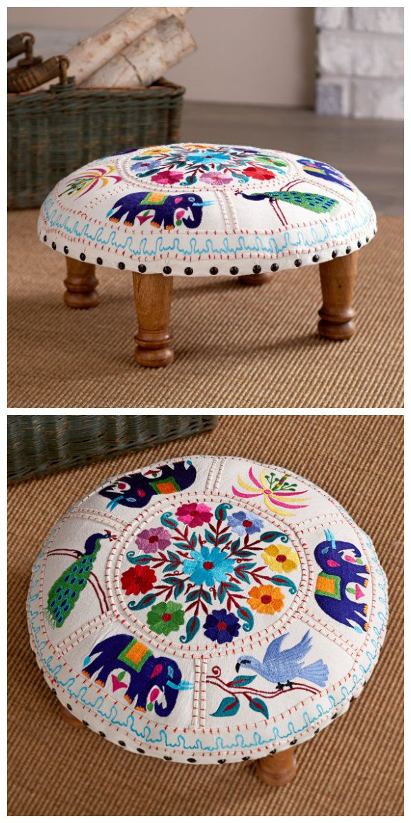 Let mom put her feet up this Mother's Day! Elephant and Peacock Embroidered Footstool | National Geographic Store