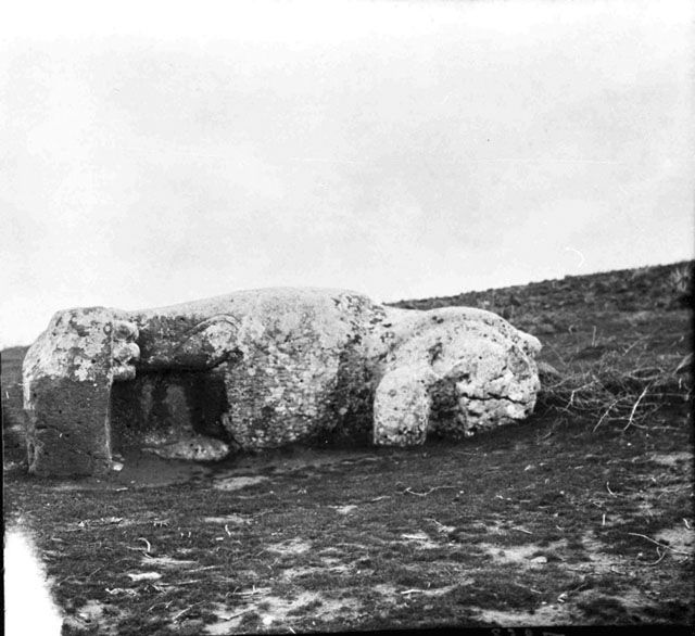 Tell al Ahmar, stone Assyrian lion, February 1909, Gertrude Bell Archive, Newcastle University