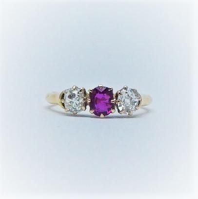 1920's Ruby and Diamond Three Stone Ring.