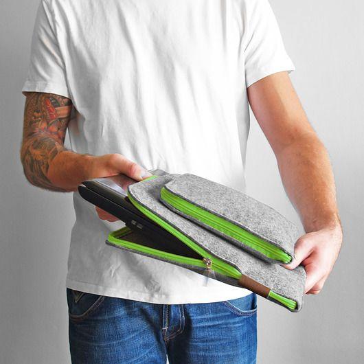 ETUI NA LAPTOP I Zasilacz 01 zielony zamek #laptop #green #zipper #sleeve #macbook #cover #felt