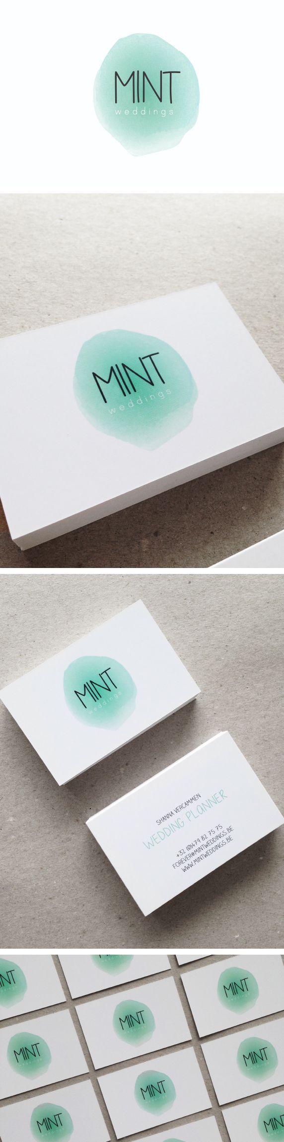 Logo mint weddings. Mint green, aquarelle look, water-colour, wedding planner, naamkaartjes mintgroen, design, trouw