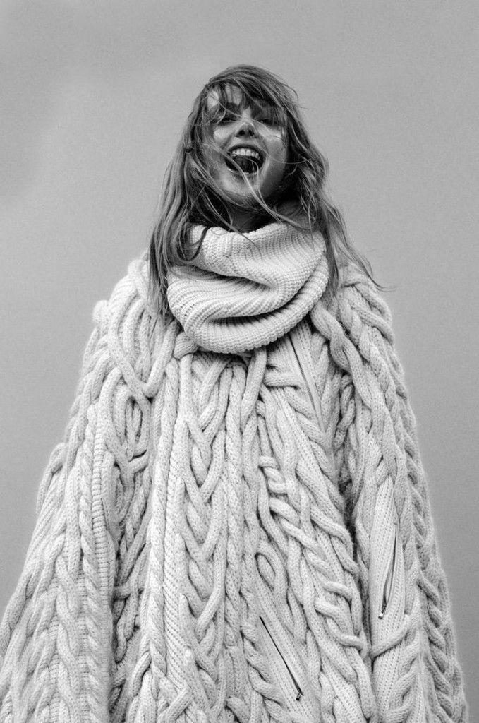 Chunky Knitted Poncho - chic knitwear design // Barbara Bui Fall 2014