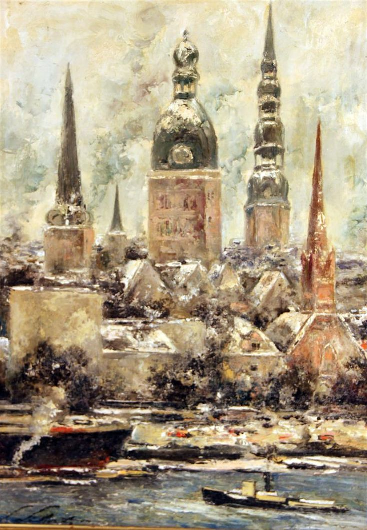 Oil on Board City Scape, Ludolfs Liberts (1895 - 1959)
