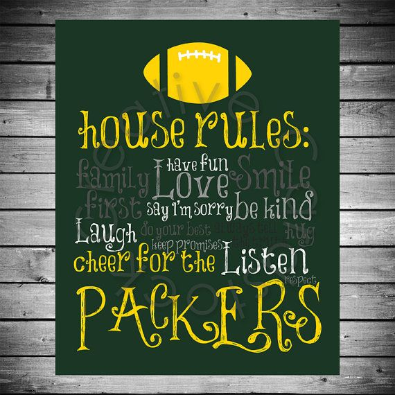Green Bay Packers House Rules - 8x10 INSTANT Digital Copy