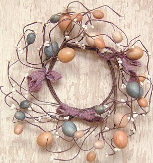 """Wreath - 10"""" Egg & Pips - Primitive Country Rustic Pastel Eggs, Pip Berries, Twig, Seasonal Spring Easter Decor by CW. $11.99. Beautiful addition to your spring or country collection.. 10-inch twig wreath.. Multi-colored pastel eggs, ivory pip berries, and plaid bow accents.. Multi-colored pastel eggs are scattered in with ivory colored pip berries, making this 10"""" diameter wreath a colorful spring accent. No two are exactly alike! Beautiful addition to your spring or country c..."""