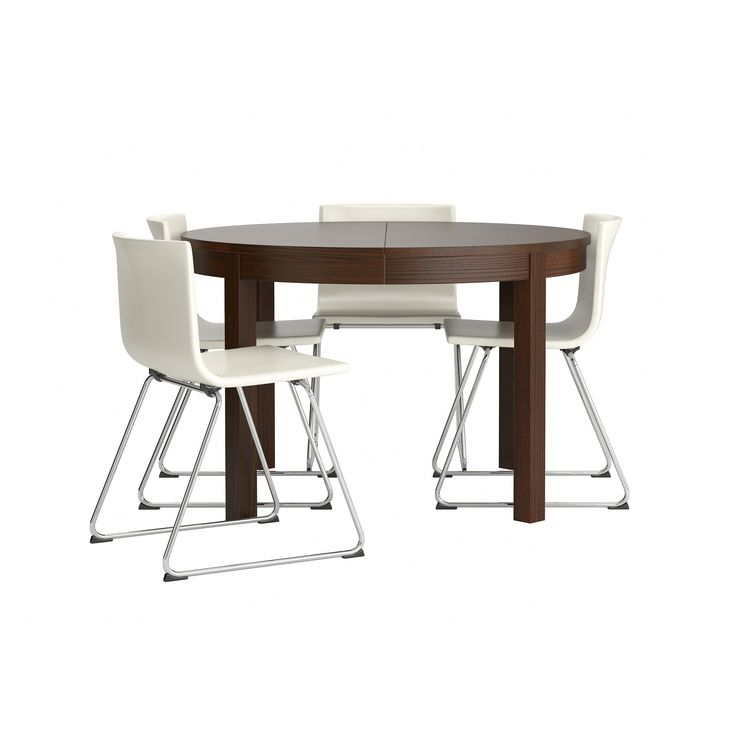 "$825 BJURSTA/BERNHARD Table and 4 chairs - chrome plated/Kavat white, 45 1/4 "" - IKEA"
