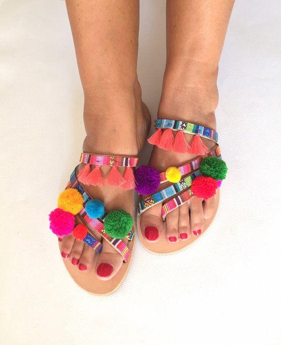 FREE SHIPPING Pom Pom Sandals ''Rainbow'' by BohemianFootprints