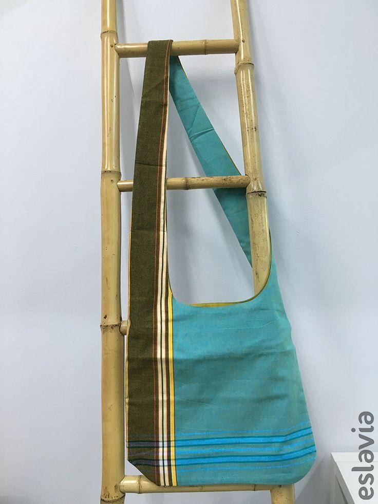 Regalos para Reyes:  Saco de tela de kikoy de color verde turquesa y mostaza.
