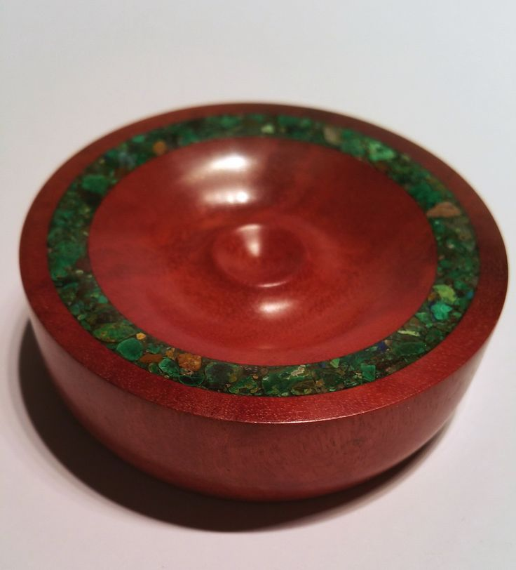 Redgum support bowl with Malachite stone inlay crafted in May 2015 number 1