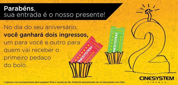 Promoção para aniversariantes no Cinesystem de Praia Grande