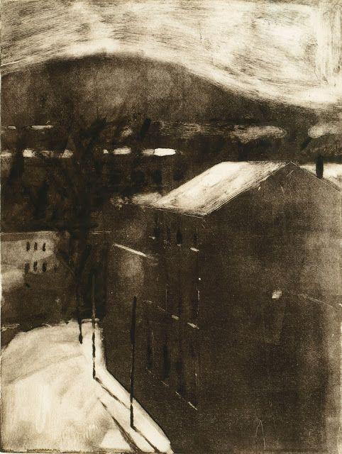 Frank Hobbs: Warehouses, monotype, 15 x 12 in.