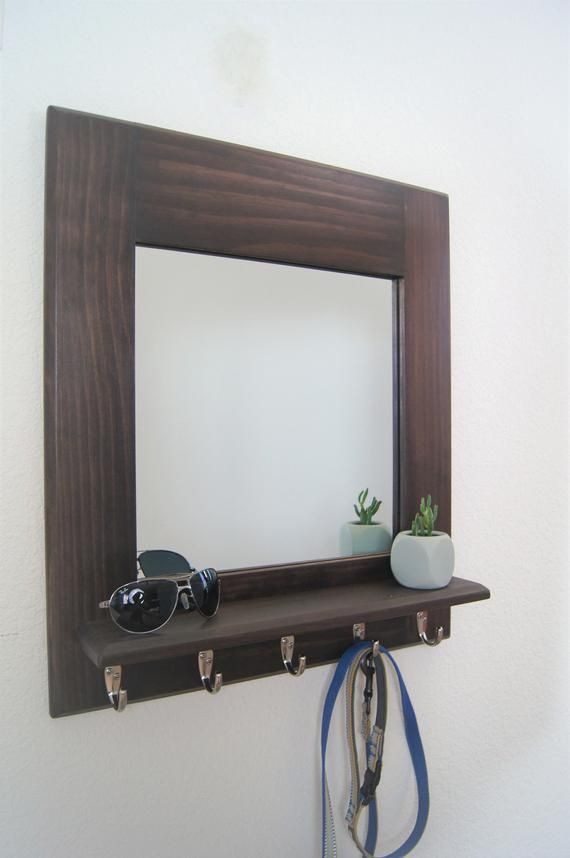 Wall Mirror Floating Shelf Coat And Key Hooks Entryway Organizer Handmade Floating Shelves Shelves Entryway Organization