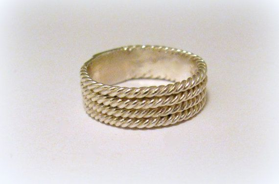 Silver wickered ring spun braided by Minicsiga on Etsy