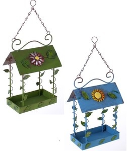 Pretty 'House Style' Hanging Metal Bird Feeder - Blue or Green. Brand New | eBay Visit.....The Ginger Sheep...£9.99