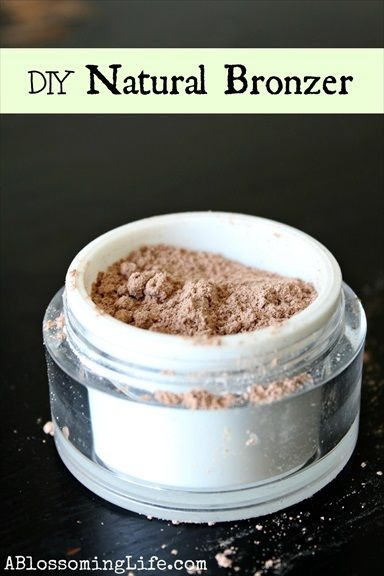 "How to Make An All-Natural Homemade Bronzer (recipe) with link to ""a blossoming life"" blog full of great DIY recipes (powder foundation)."