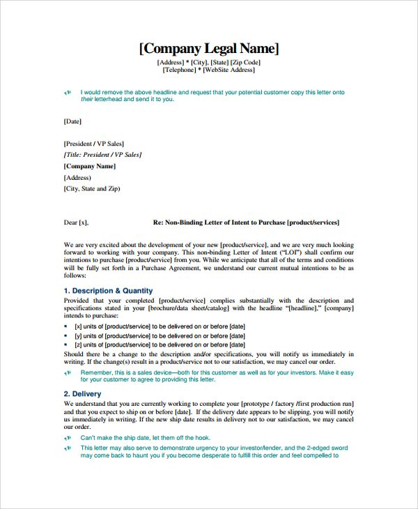 sample letter intent contract documents pdf word business termination template throughout