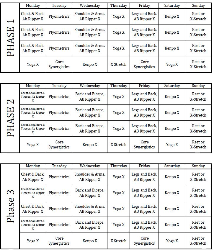 P90X schedule.... Just started today so we'll see how it goes